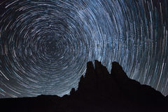 Startrail over the Vajolet towers in Dolomites. Startrail over the Vajolet towers  in Dolomites Stock Photos