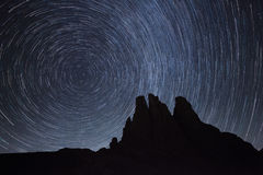 Startrail over the Vajolet towers in Dolomites Stock Image