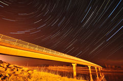 Startrails. An hour long exposure of the stars in the south lakes Stock Image