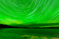 Startrails Aurora borealis frozen Lake Laberge Royalty Free Stock Photography