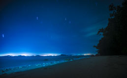 Startrails at beach in Koh Yao Yai,Thailand Stock Image