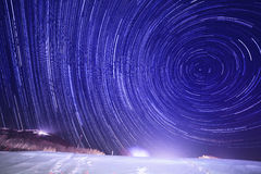 Startrails on blue sky Royalty Free Stock Photo