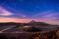 Startrails at Bromo mountain Stock Photos