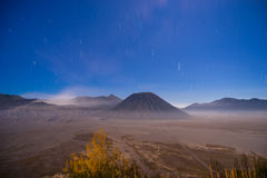 Startrails at Bromo mountain. Indonesia Stock Images