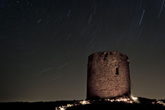 Startrails in Cala Domestica Stockbild
