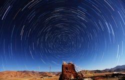 Startrails de Tibet Fotografia de Stock