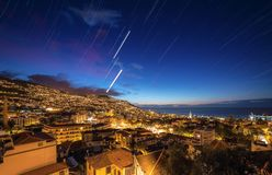 Startrails Funchal Madera stock afbeelding