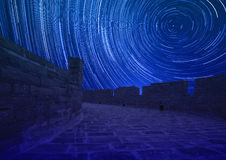 Startrails on the Great Wall in night Stock Images