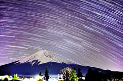 Startrails of Mount Fuji Royalty Free Stock Photo