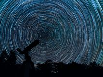 Startrails of our galaxy. royalty free stock photos