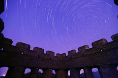 Startrails over the great wall Stock Photos