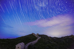 Startrails over the great wall Royalty Free Stock Images