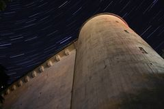 Startrails over old german high bunker Royalty Free Stock Photos