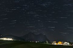 Startrails over Sciliar Stock Photos