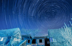 The startrails over the seaweed huts Stock Images