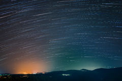Startrails in South Italy. 50 photos to make this startrails took in a small town in the south of Italy Stock Image
