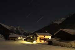 Startrails at st-anton arlberg. Austria Royalty Free Stock Photo