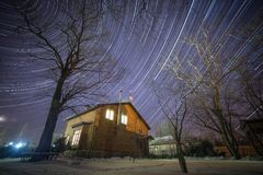 StarTrails-Winter Stockbilder