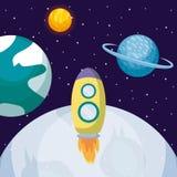 Startraket met maan en planeten royalty-vrije illustratie