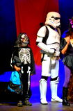 Startrooper and skelleton Halloween parade Royalty Free Stock Photo