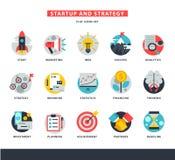 Startup вектор значков дела начинает вверх нововведение идеи маркетинга стратегии или businessplanning иллюстрацию ракеты или Стоковая Фотография RF