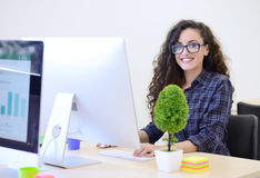Startup дело, разработчик программного обеспечения работая на компьютере на современном офисе стоковая фотография