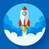 Startup иллюстрация Ракета в облаках Плоский стиль дизайна Стоковые Изображения RF