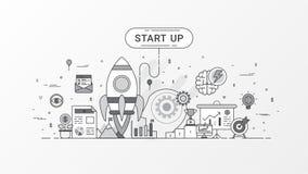 Startup компания Быстро растущее дело infographic Горизонтальный шаблон состава содержит значки Ракеты, планированиe бизнеса иллюстрация вектора