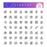 Startup линия установленные значки Стоковые Фото