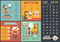 Startup плоский шаблон Infographic дизайна Стоковое Фото