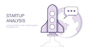 Startup Analysis Business Project Study Concept Web Banner With Copy Space. Vector Illustration Royalty Free Stock Photos