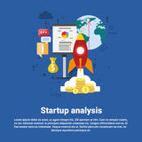 Startup Analysis Financial Business Web Banner. Flat Vector Illustration Royalty Free Stock Image