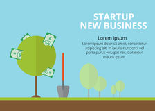Startup background. Illustratiron in flat style. New business. Royalty Free Stock Photography