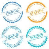 Startup badge isolated on white background. Flat style round label with text. Circular emblem vector illustration Stock Photo
