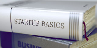 Startup Basics. Book Title on the Spine. 3D. Stock Image