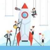 Startup begrepp Affärstecken lanserar vektorn för skeppet för ny för projektanslutningsraket för symboler för framgång frihet för vektor illustrationer