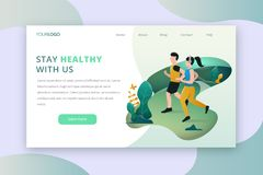 Outdoor activity landing page royalty free illustration