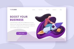 Business booster landing page vector illustration