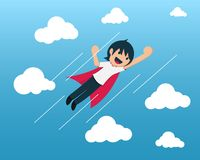 Startup Boy Flying in blue sky. stock illustration
