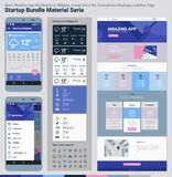 Startup Bundle Material Serie. Mobile App UI and Landing Page Royalty Free Stock Photo