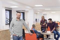 Startup business, businessman portrait at modern office, team br Stock Photo