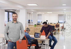 Startup business, businessman portrait at modern office, team br Stock Images