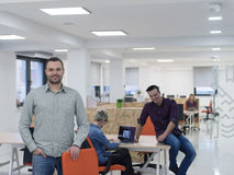 Startup business, businessman portrait at modern office, team br Stock Photos