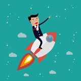 Startup Business. Businessman on a rocket. Stock Photography
