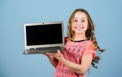 Startup business. child development in digital age. Play internet surfing. home schooling education. happy girl with. Notebook. shopping online. school project stock image