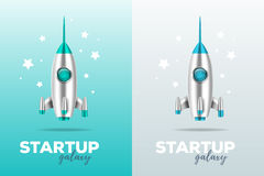Startup business concept with shuttle. Realistic vector template. With two color illustration of shiny metal space rocket with text and stars on gray and blue vector illustration