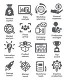 Startup business and development icons. On white Royalty Free Stock Photography