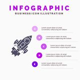 Startup, Business, Goal, Launch, Mission, Spaceship Solid Icon Infographics 5 Steps Presentation Background royalty free illustration