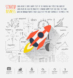 Startup business idea concept. Rocketship on inspiration creative thinking drawing charts and graphs business success strategy plan ideas concept design Stock Images