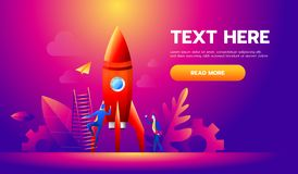 Startup business illustration people are building a rocket. Innovation technology start up. Spaceship launch to the sky.  royalty free illustration